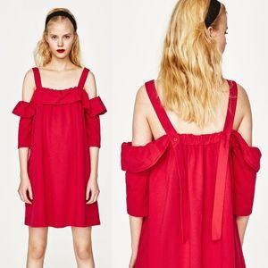 ZARA Red Frilled Poplin Cold Shoulder Dress ⭐️